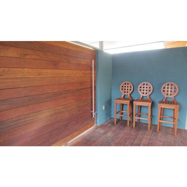 Image of McGuire Orlando Diaz-Azcuy Portico Solid Teak Barstools - Set of 3