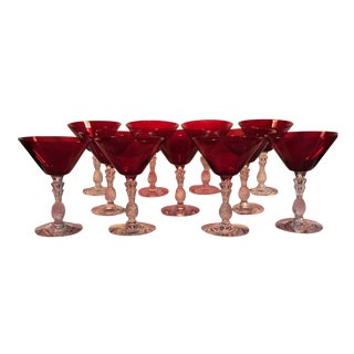Ruby Red Martini Glasses - Set of 11