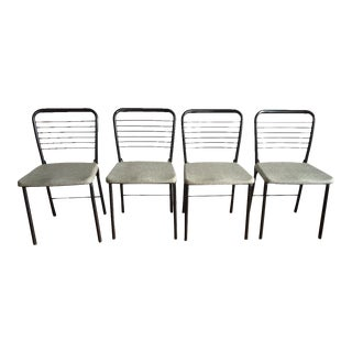 Mid-Century Modern Black Metal Ladderback Folding Chairs - Set of 4