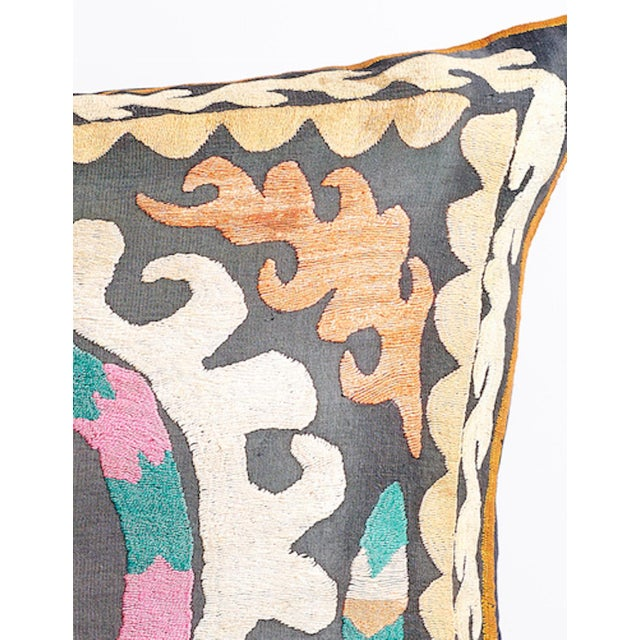 Large Suzani Pillow With Filler - Image 4 of 5