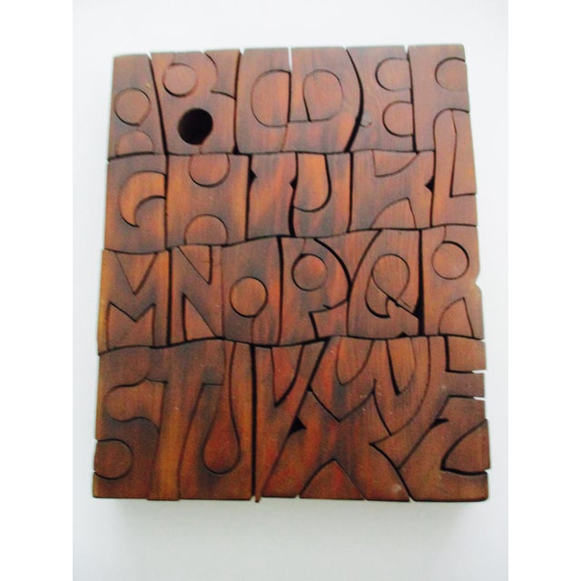D carved wood letters puzzle sculpture chairish