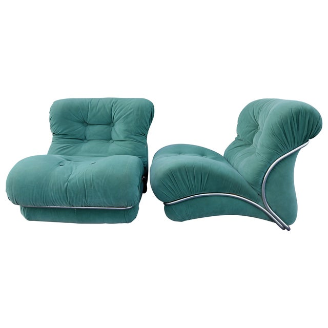 Image of Tobia Scarpa Style Upholstered Chrome Lounge Chairs- A Pair