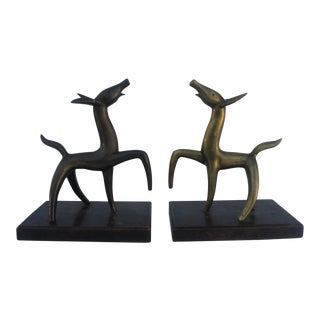 Vintage Brass Dogs Shaped Bookends- A Pair