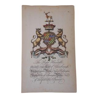 Antique Heraldry Print - Earl R. Lumley Saunderson