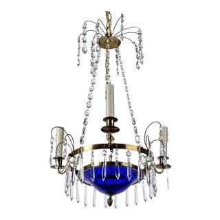Swedish Crystal and Cobalt Blue Glass Three-Light Chandelier