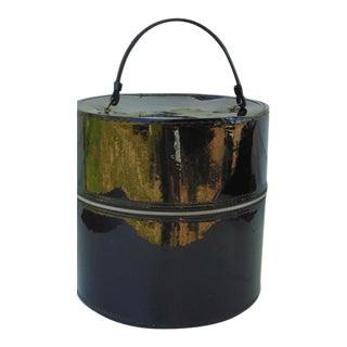 Mid-Century Modern Black Round Hat Box