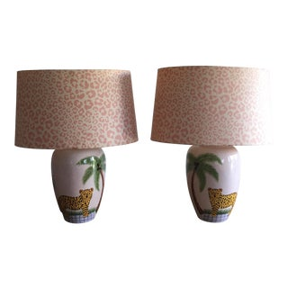 French Hand Painted Ceramic Lamps - A Pair