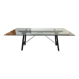 Glass Top & Wood Base Table