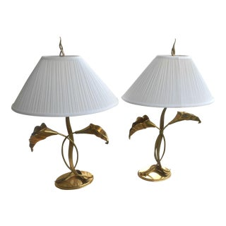Vintage 1995 Chapman Solid Brass Calla Lily Table Lamps - A Pair