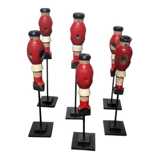 Red Wooden Foosball - Set of 6