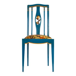 Andre Groult Blue and Burnt Orange Lacquered and Gilt Wood Side Chair