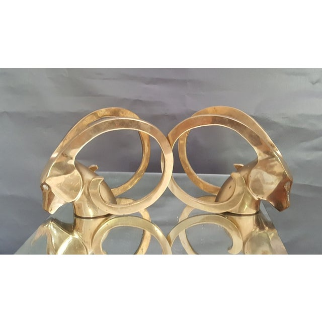 Hollywood Regency Brass Rams Head Bookend - Pair - Image 2 of 5