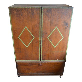 Cabinet with Built-in Desktop and Storage Drawers, Folk Art Style