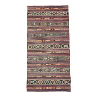 Vintage Embroidered Turkish Kilim Rug - 5′9″ × 11′7″
