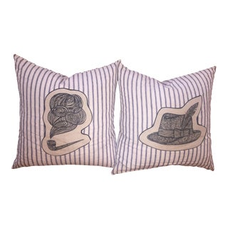 Vintage Pipe & Hat Accent Pillows - A Pair