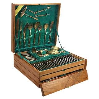 Modernist Brass Flatware Set - 151 Pieces