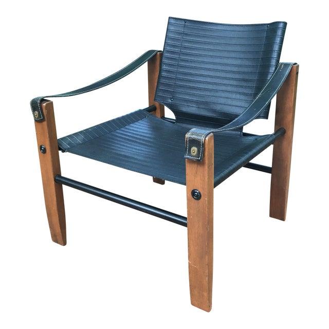 Sirocco Safari Black Vinyl & Leather Arms Chair - Image 1 of 10
