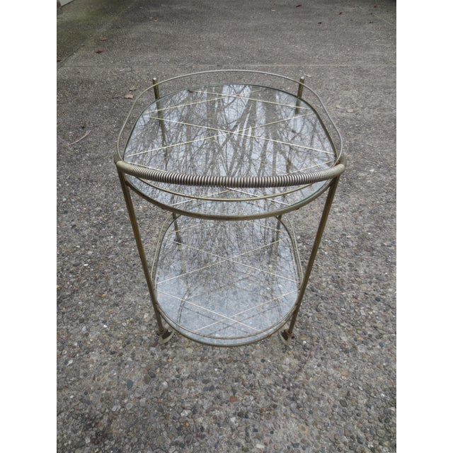 Vintage 1970s Brass & Glass Rolling Bar Cart - Image 4 of 6