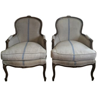 Antique French Bergère Chairs - A Pair