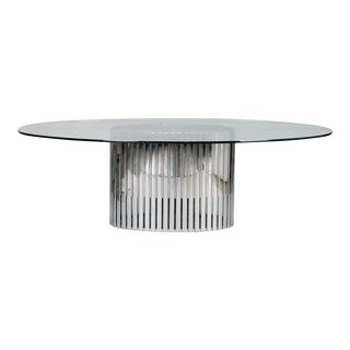 Mid-Century Glass Top Dining Table with Chrome and Brass Slatted Base