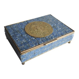 Mid-Century Brass & Tile Box