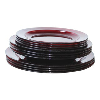 Arcoroc French Ruby Red Dishes - Set of 12