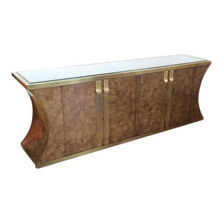 Burlwood and Aged Brass Credenza by Mastercraft