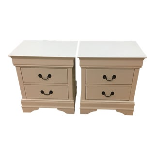 Pair of White Two Drawer Side Tables