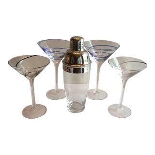 Swirl Martini Glasses & Shaker - Set of 5