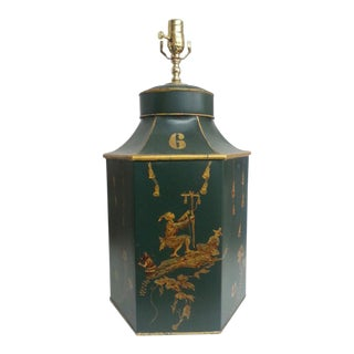 Green & Gold Chinese Export Tea Caddy Tole Lamp