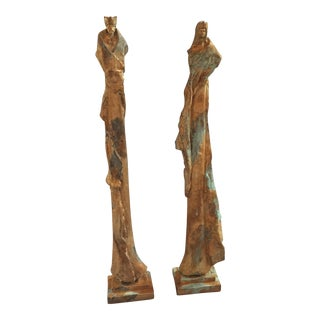 King and Queen Sculptures - A Pair