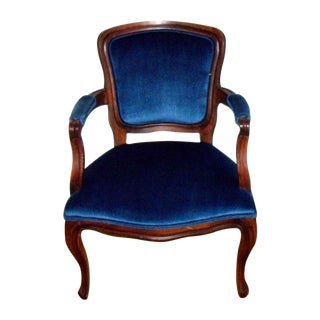 Mid-Century French Style Blue Velvet Arm Chair