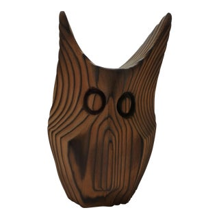 Mid Century Modern Carved Redwood Owl