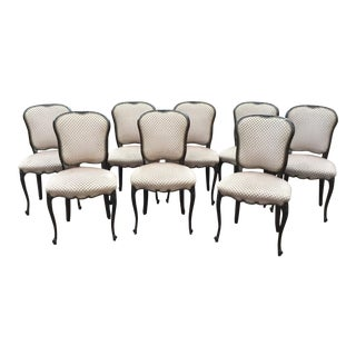 Vintage Upholstered Dining Room Chairs - Set of 8