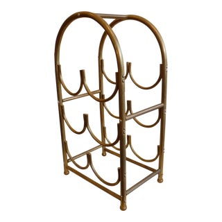Mid-Century Brass 6 Bottle Wine Rack