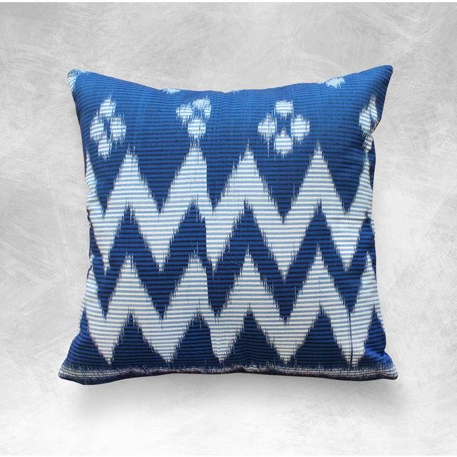 """Java Ripples"" Indigo Handwoven Ikat Pillow Cover - Image 4 of 5"