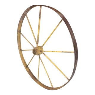 Small Yellow Metal Wagon Wheel
