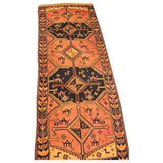 """Vintage Saffron Qash'qai Tribal Rug - 3'11"""" x 11'1"""""""
