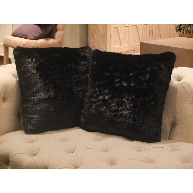 Sarreid Ltd. Black Fur Pillows - a Pair - Image 3 of 3