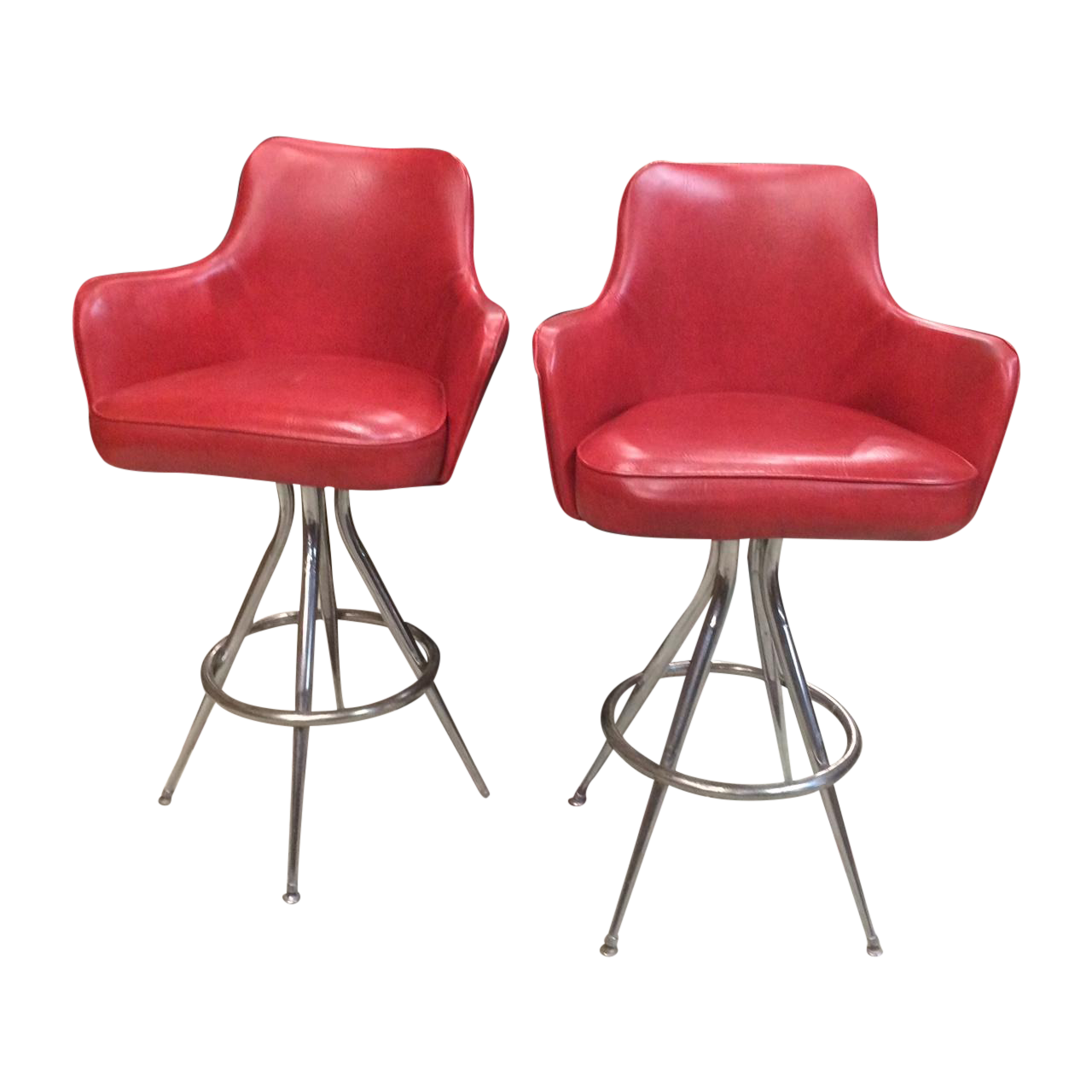 Vintage 1970s Red Bar Stools Pair Chairish
