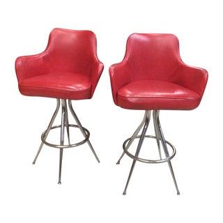 Vintage 1970s Red Bar Stools - Pair