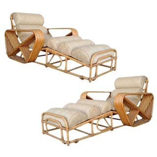 Rare Restored Pair of Paul Frankl Rattan Chaise Lounge Chairs w/ Pretzel Arms