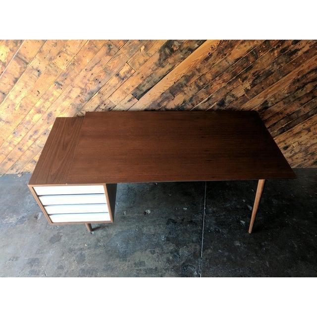 Custom Large Mid Century Style Walnut Desk - Image 8 of 11