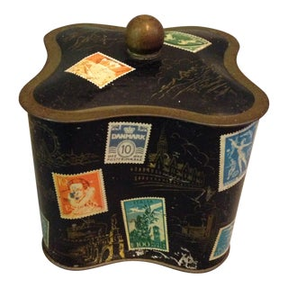Antique Stamp Tin Container