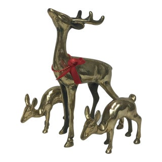 Solid Brass Reindeer Figures - Set of 3