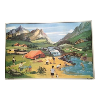 "Vintage French School ""Le Camping/ l'Hiver"" Two-Sided Poster"