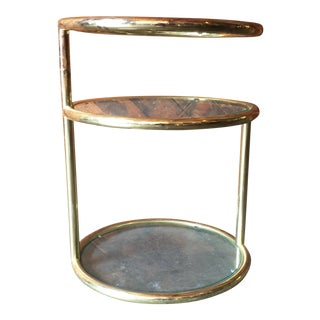 Vintage Swivel Brass Glass Side Table