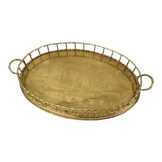 Nautical Brass Faux Bamboo Serving Tray