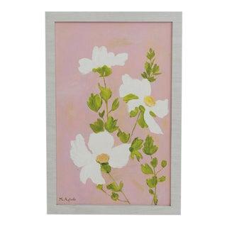 Signed Original Floral Scene Framed Oil Painting on Board