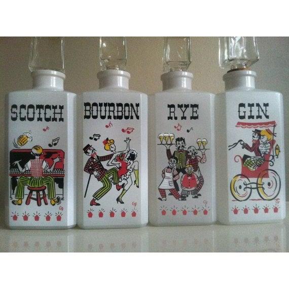 Vintage Milk Glass Liquor Bottles - 4 - Image 3 of 6